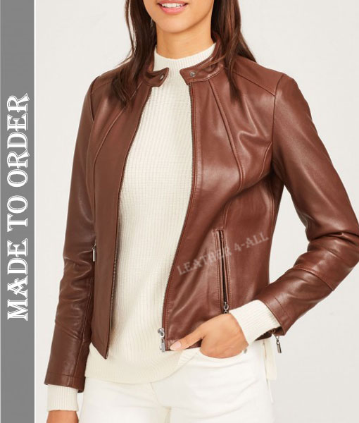 Women's Real Lamb Natural Grain Leather Bikers Jacket in Brown Color