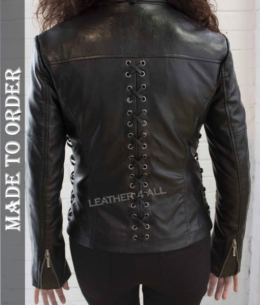 Women's Real Lamb Skin Leather Jacket with Front & Back Laces