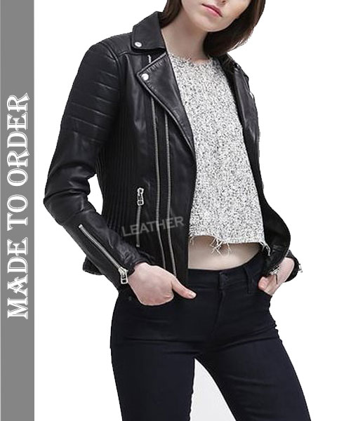 Women's Real Lamb Leather Bikers Jacket Quilted Panels Bikers Leather Jacket