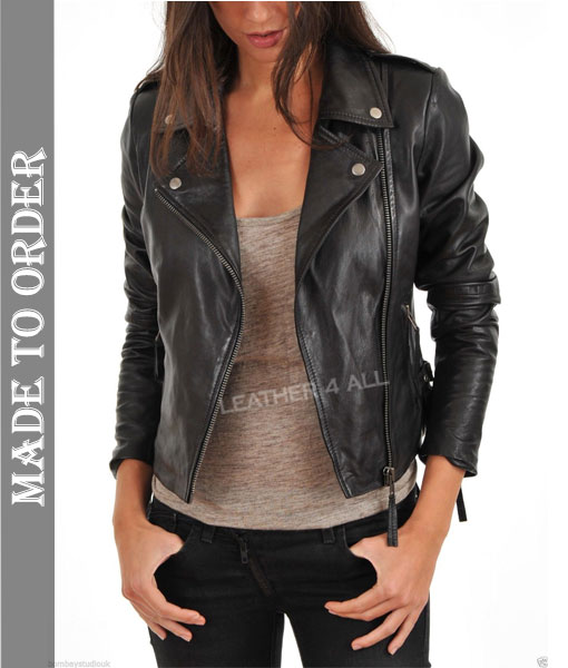 Women's Real Leather Biker Style Cross Zip Jacket Jade Black