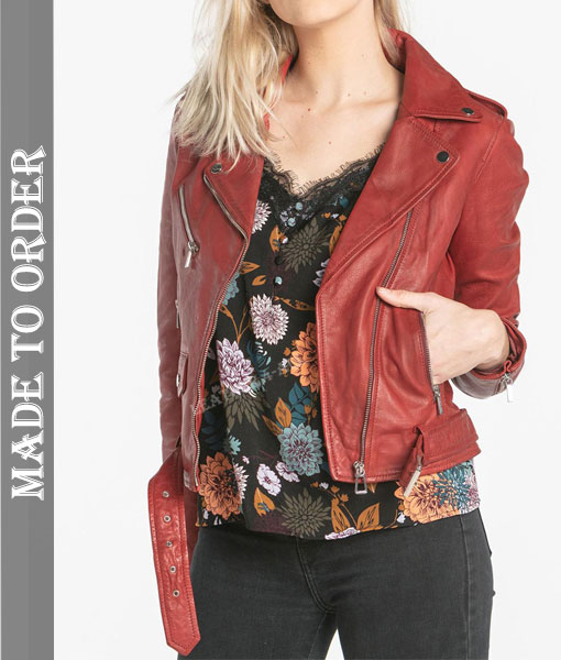 Women's Genuine Cowhide Natural Grains Leather Motor Bikers Jacket Quilted Panels Bikers Jacket in Red Color