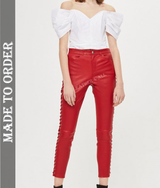 Women's Real Leather Laces Up Slim Fit Sexy Side Laces Up Pants In Red Color