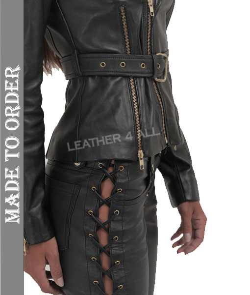 Women's Real Lamb Leather Bikers Jacket Quilted Panel Leather Biker Jacket with Front & Back Zips
