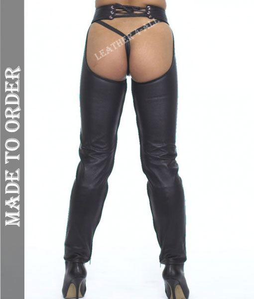 Women's Real Cowhide Soft Leather Chaps Inside Zipped Leather Chaps