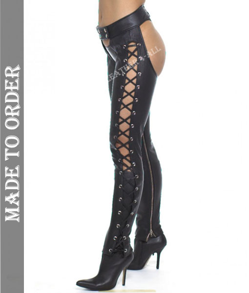 Women's Real Cowhide Soft Leather Chaps Side Laces Up Leather Chaps