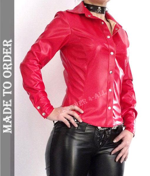 Ladies Soft Leather Shirt Top Clothing Long Full Sleeves in Red Color