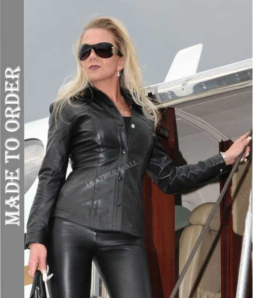 Ladies Soft Leather Shirt Top Clothing Long Full Sleeves in Black color