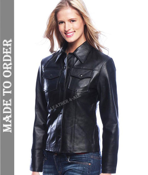 Ladies Real Soft Lamb Skin Leather Shirt Top Clothing Police Style Long Sleeves Shirt