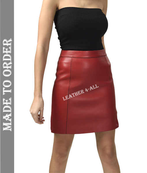 Women's Genuine Lamb Skin Soft Quality Leather Skirt High Waist Knee Length